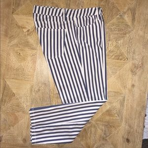Splendid Blue White Stretch Denim Striped Jeans.